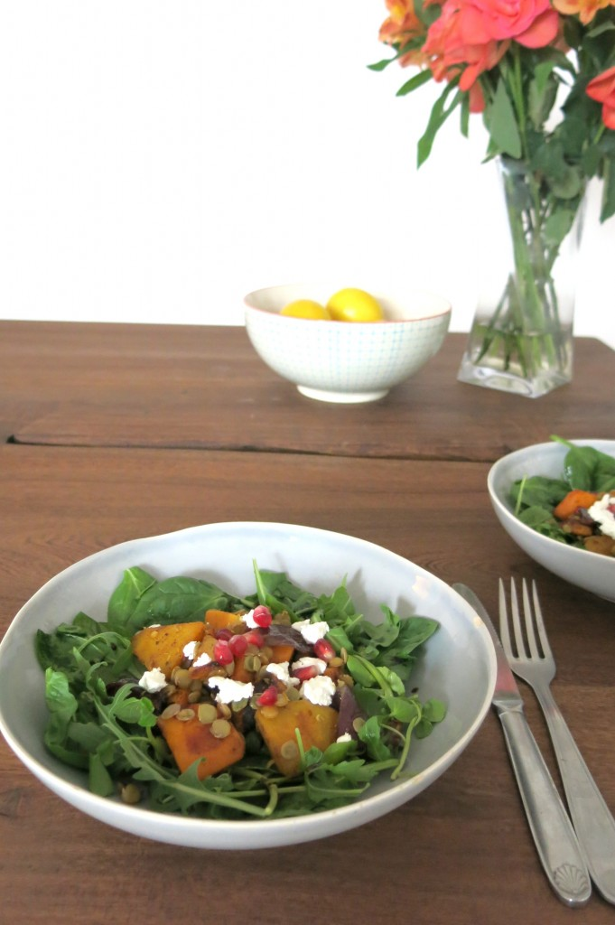 Spiced Squash Salad with Goats Curd & Pomegranate recipe