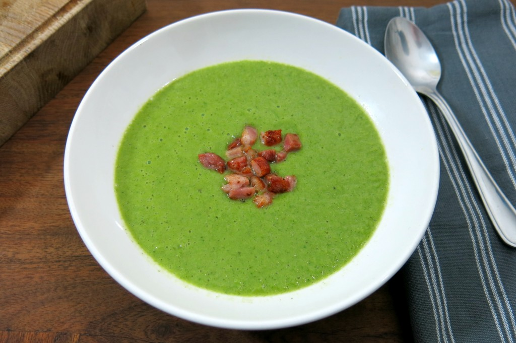 Pea, coriander and pancetta soup recipe