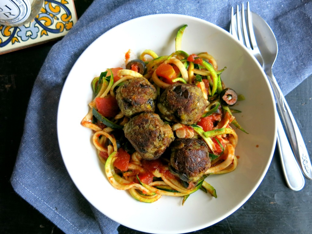 Aubergine and lentil meatballs with courgetti