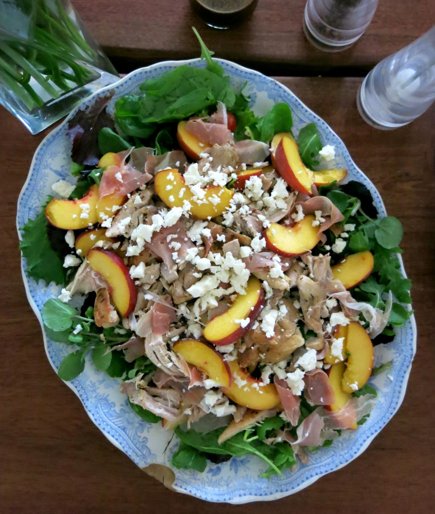 chicken, peach and feta salad