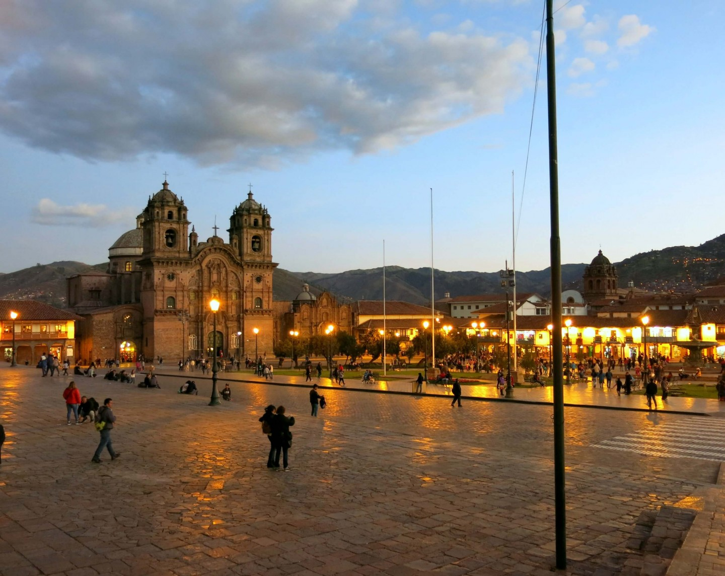 The main square in Cusco at Night. We loved this beautiful city in Peru!