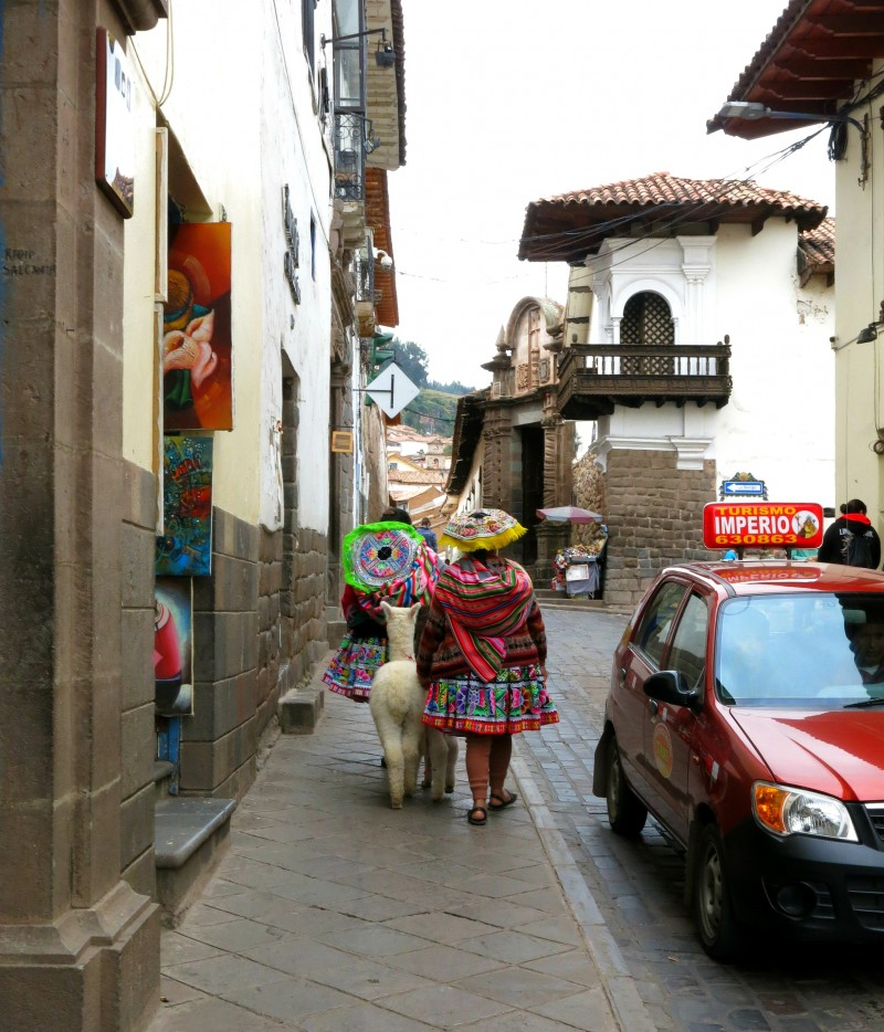 Inca women walking around Cusco, Peru.