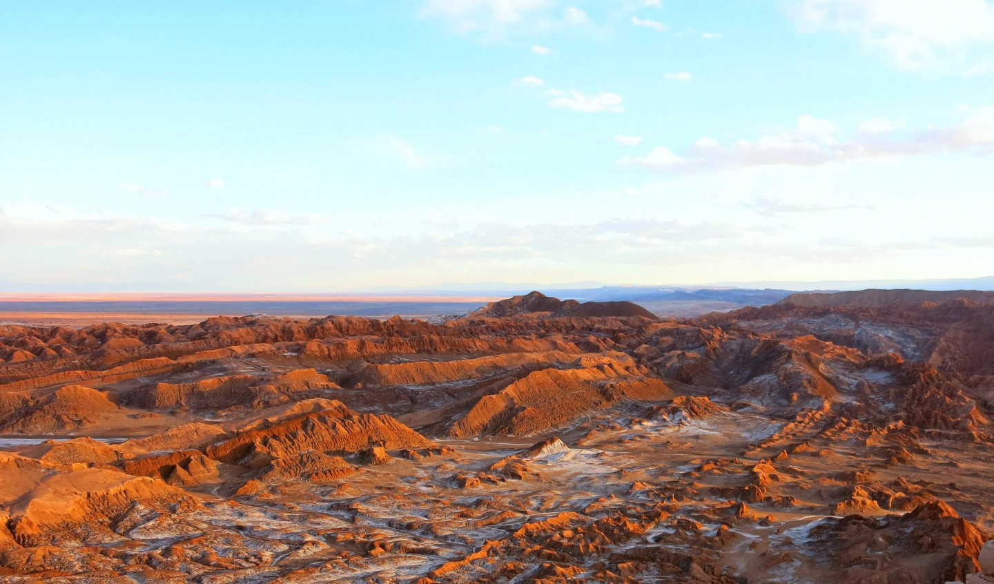 Sunset at Valle de la luna in The Atacama Desert, Chile.