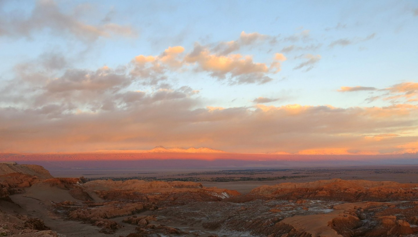 Watching the sunset over Valle de la luna in The Atacama Desert, Chile.