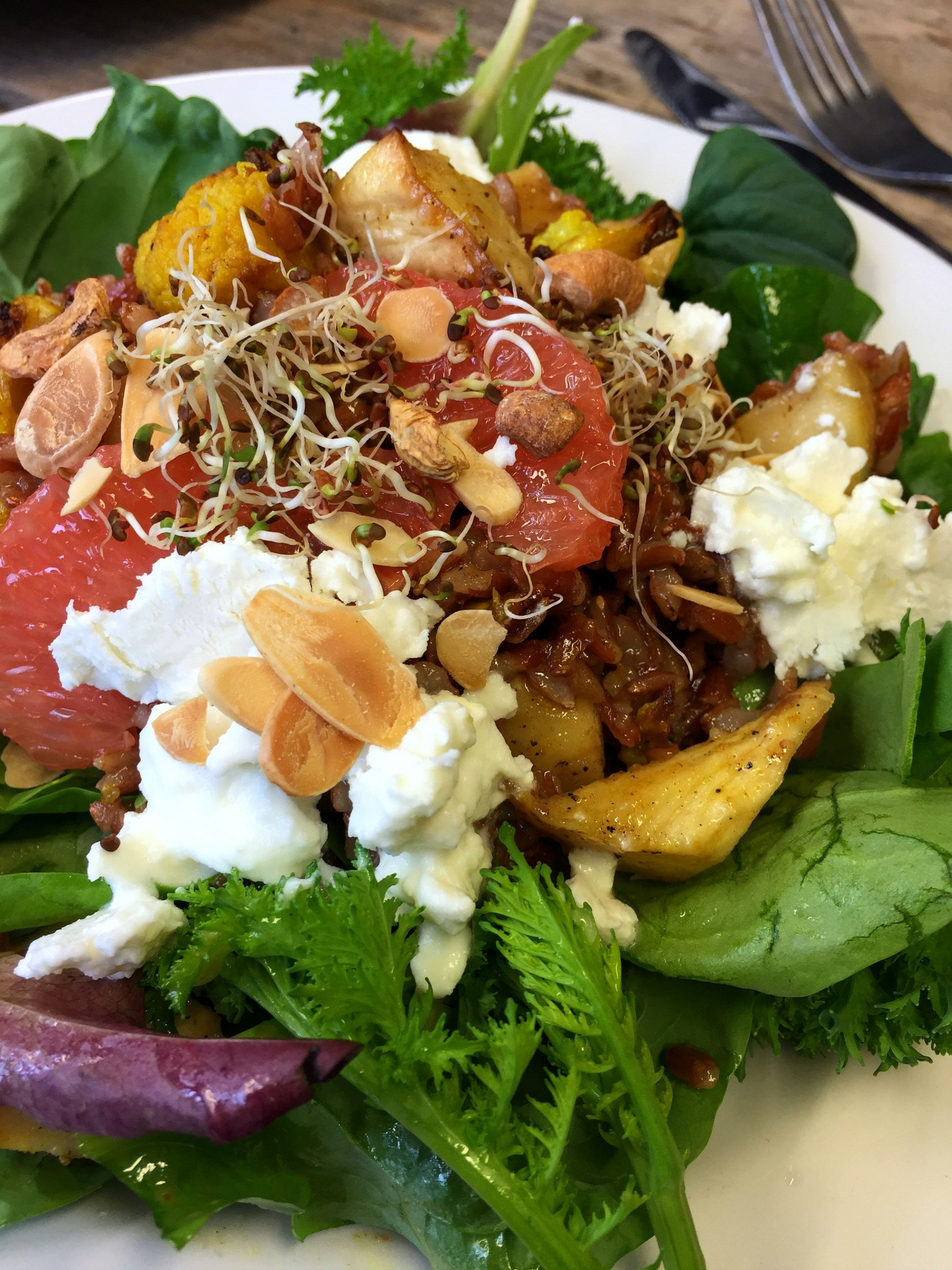 Lunch at Skip Garden Kitchen, Kings Cross. Salad made from organic ingredients grown in their very own garden.