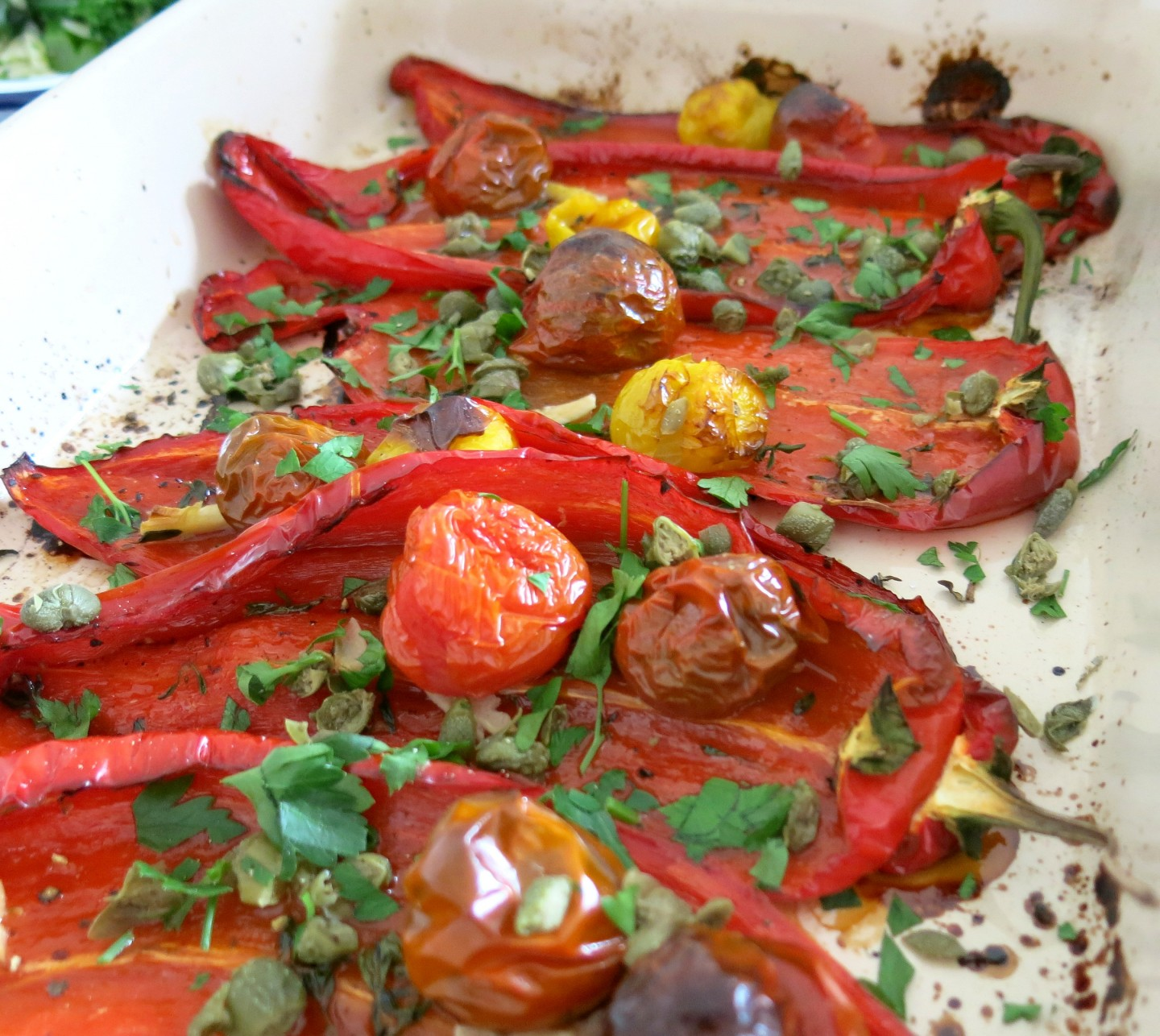 Roasted red pepper recipe from Ed Smith's new cookbook - On The Side. Perfect for an alternative veggie Sunday lunch.