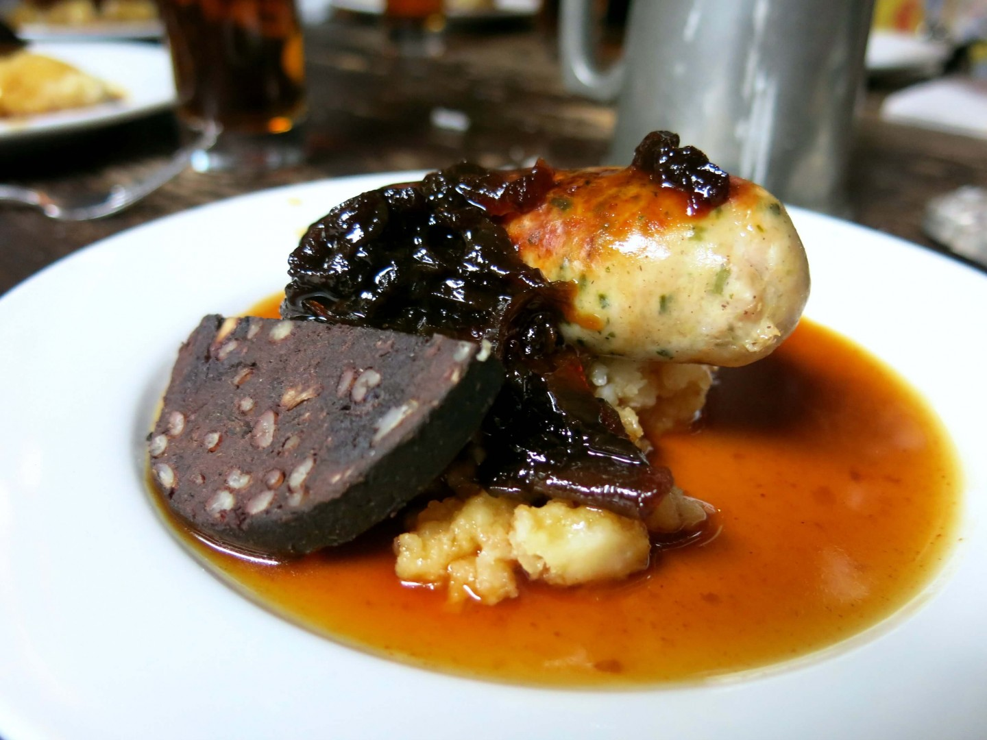 Traditional British 'bangers n mash' is just 1 of the dishes served along this historic London food tour.