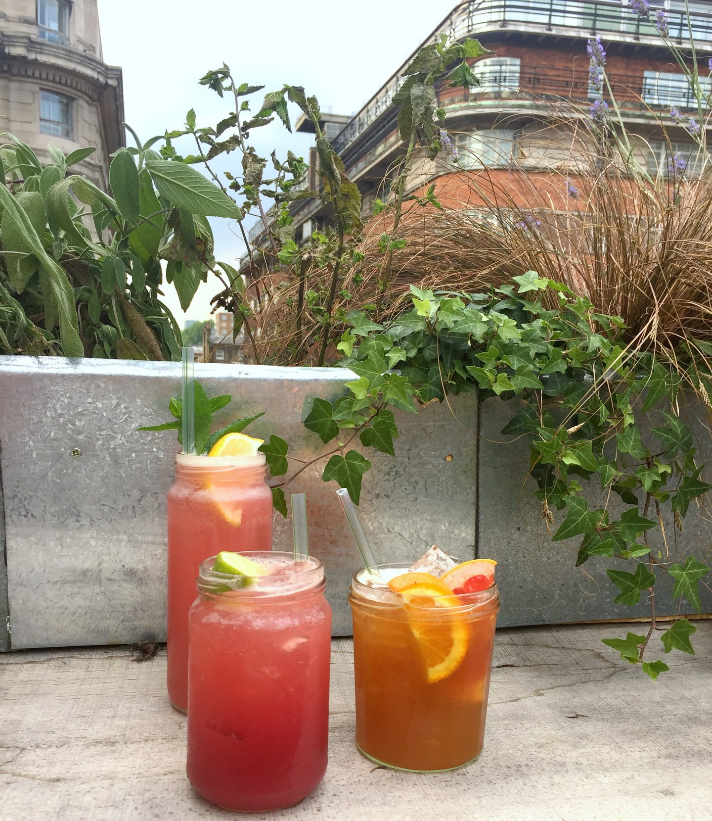 The fruity cocktails at Sisu rooftop bar on Oxford Street, London.