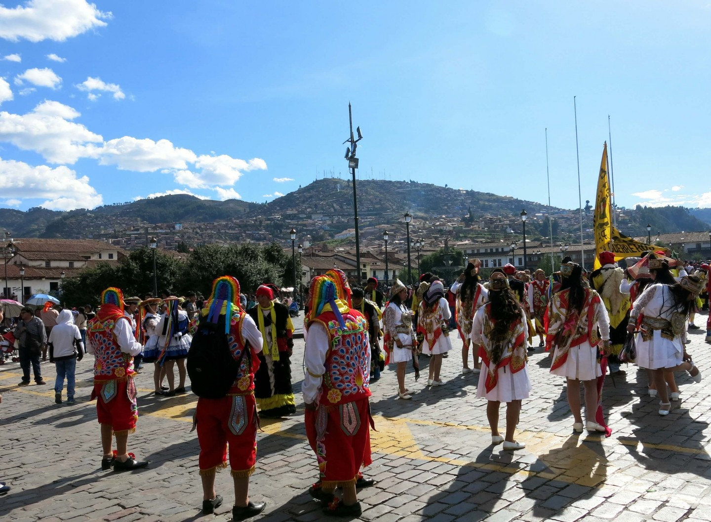 The main square in Cusco during a special festival. Cusco is a beautiful ancient city!