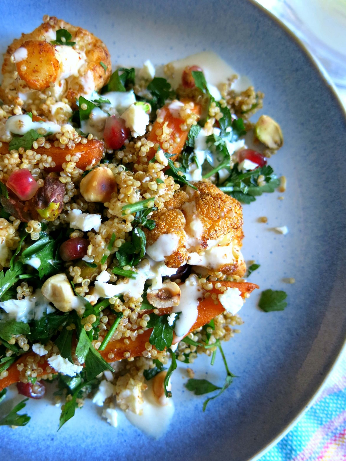 Spiced cauliflower and carrot salad recipe with a super easy tahini dressing!