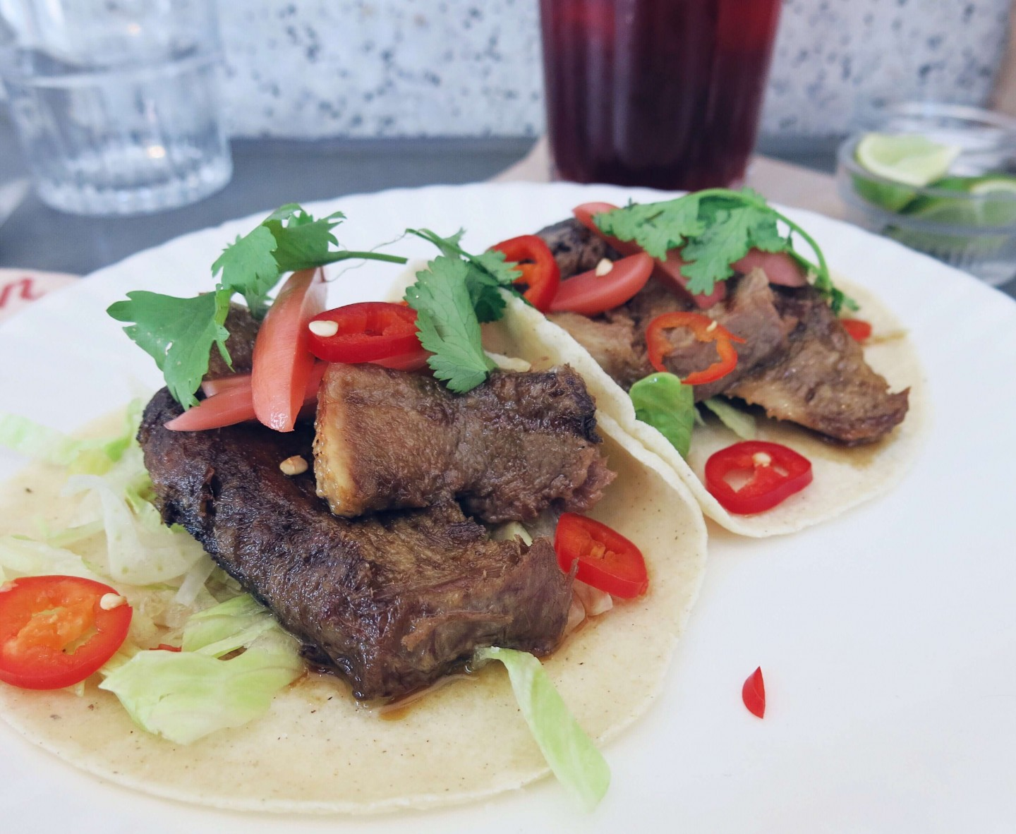 The 12 hour braized ox tongue tacos at Corazon in Soho, London. A great restaurant for lunch under £10.