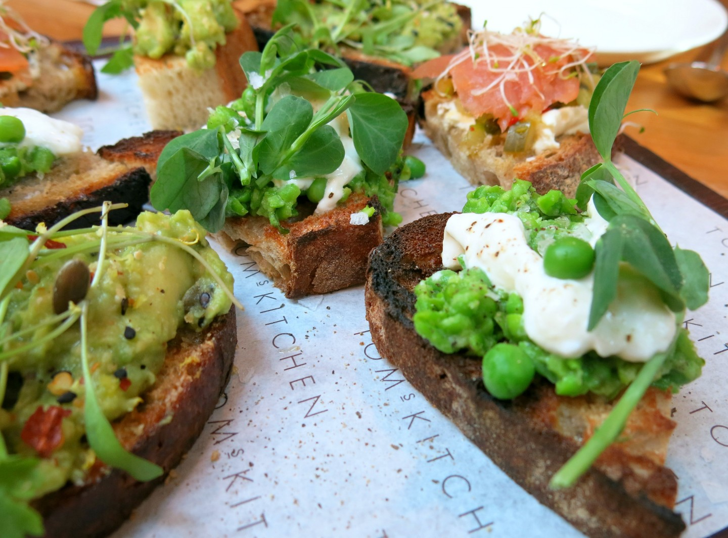 A trio of bruschetta at breakfast on the new menu at Tom's Kitchen in Chelsea, London.