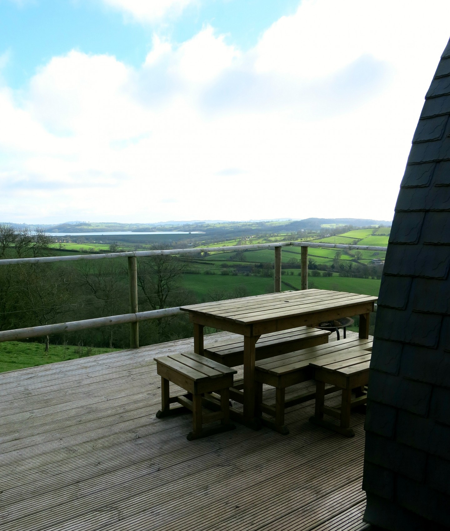 The view from our eco pod over Carsington valley in the Peak District.