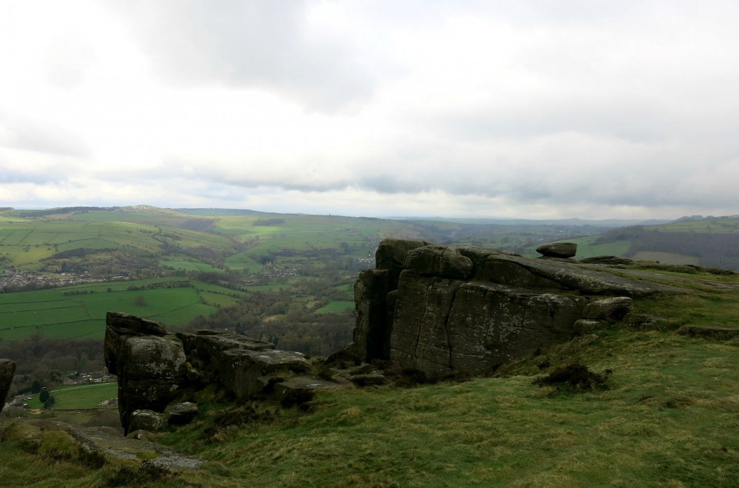 The rugged landscape of the South Peak District, England.