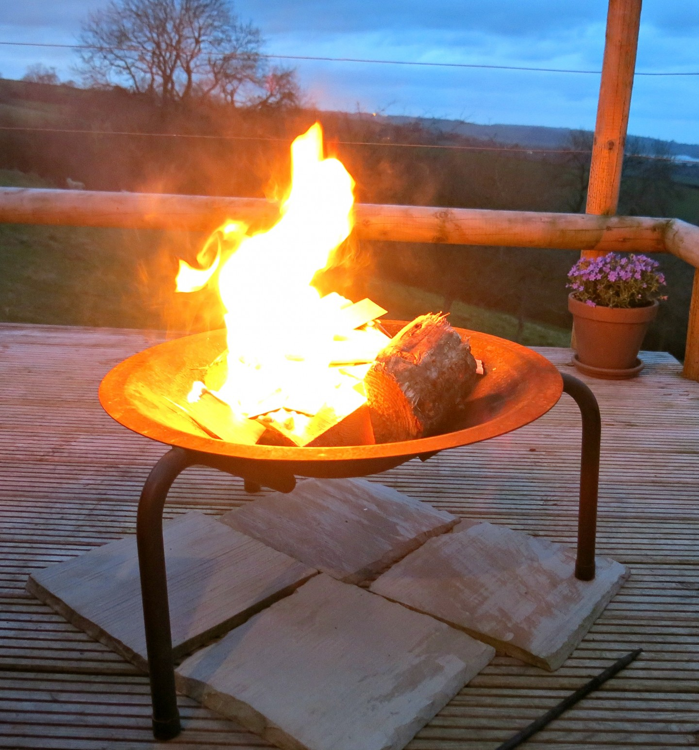 The fire pit at our eco pod in the Peak District.