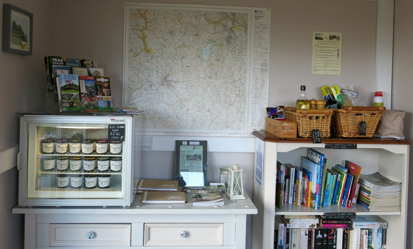 The info room at our eco pod on a working farm in the Peak District.