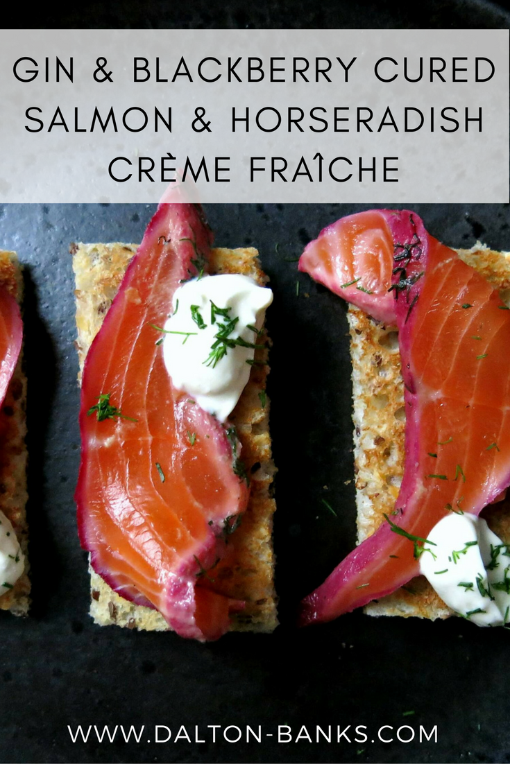 An easy to follow recipe for gin and blackberry cured salmon with horseradish crème fraîche.