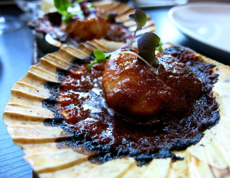 Delicious Thai scallops at Mango Tree restaurant in London.