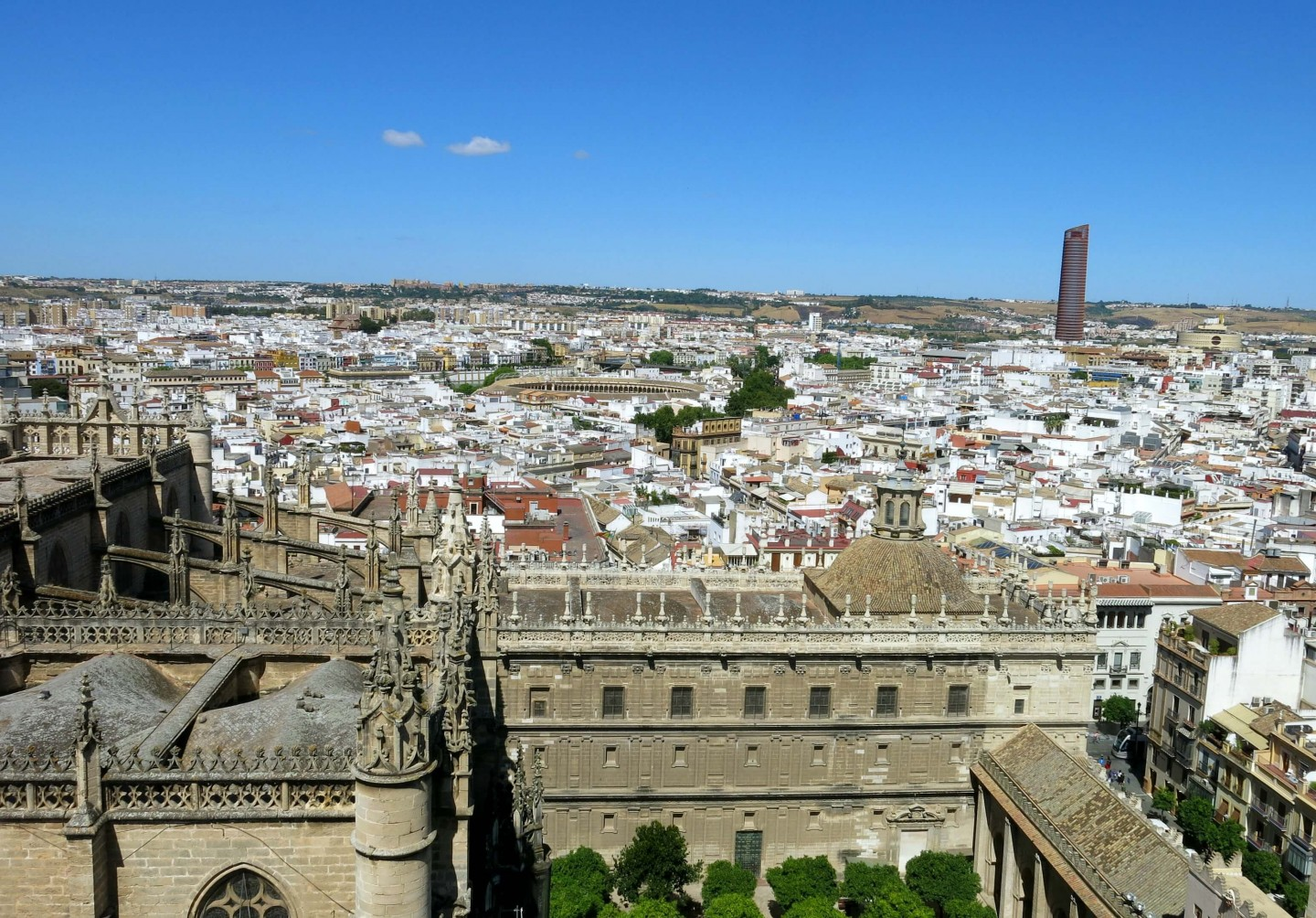 Views from the top of The Giralda, part of Seville Cathedral. Find out how you can beat the queues over on the blog.