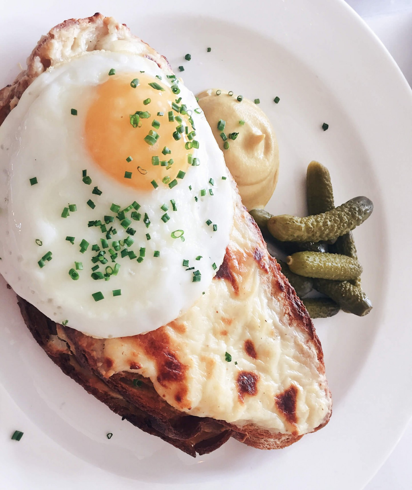 An epic croque madame for brunch at Bistrotheque, Bethnal Green
