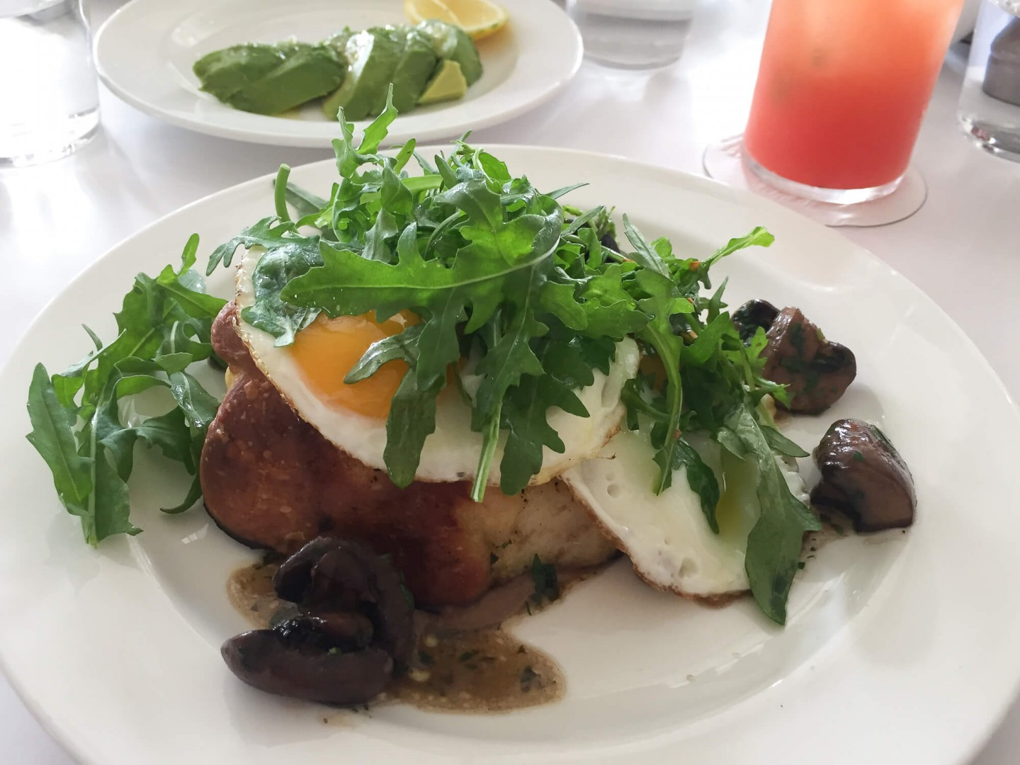 Perfect eggs and mushrooms served on toasted brioche. Bistrotheque in London is the perfect spot for beautiful brunch.
