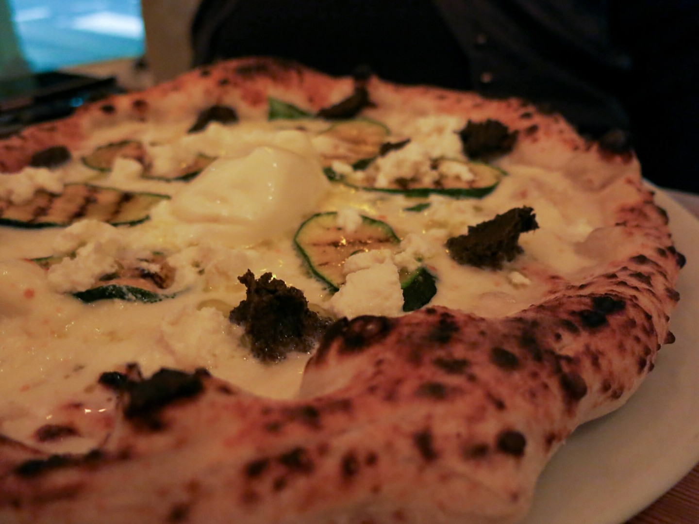 The truffle pizza at Meridionale, Fulham