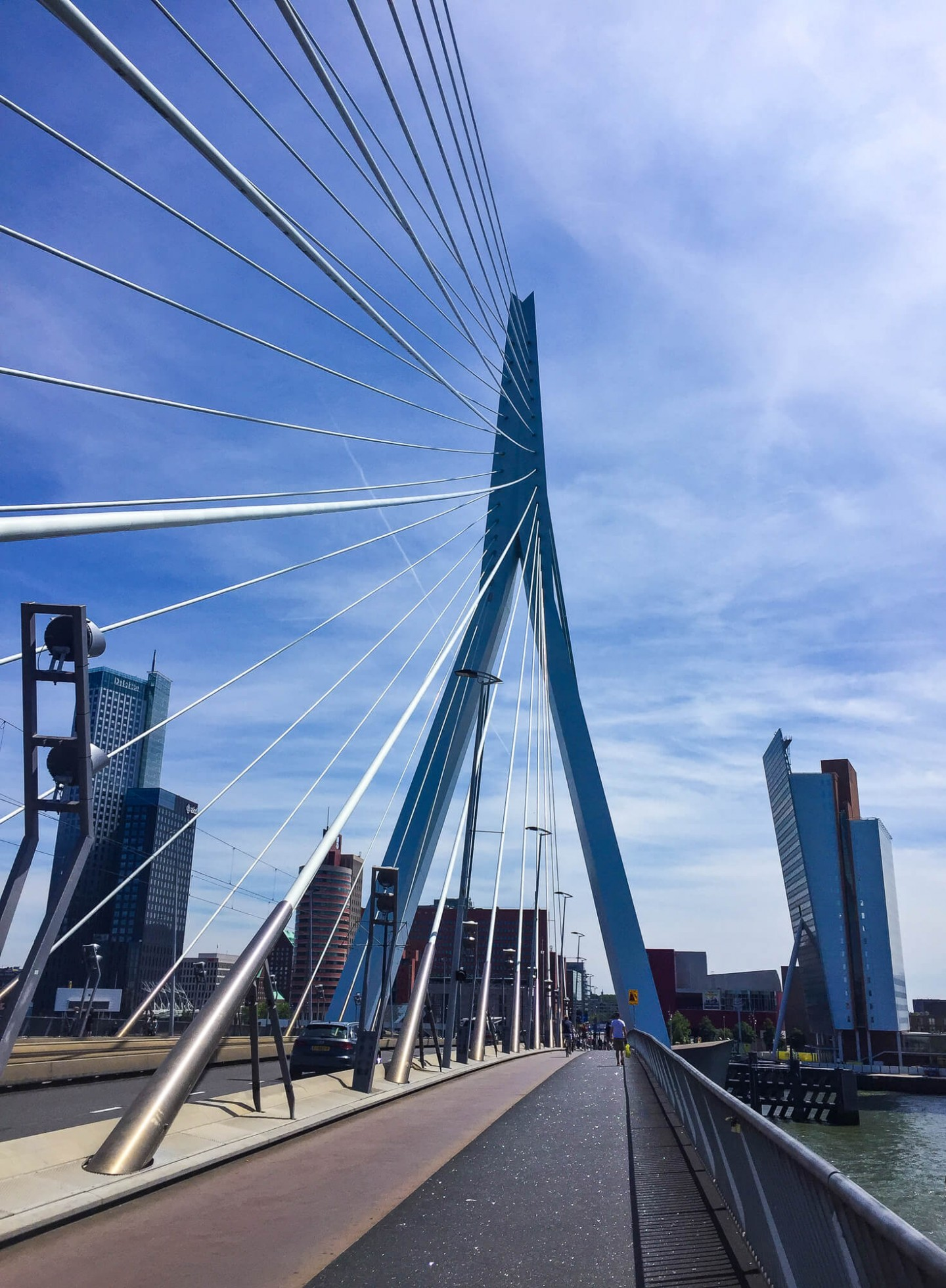 The Erasmus Bridge in the centre of Rotterdam connects the north and south parts of the city.