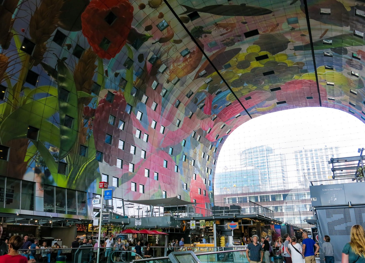 The Markthal in Rotterdam is a massive market hall with food stalls, restaurants and a supermarket. It also has apartments that have windows down into the market.There is a great range of food on offer.
