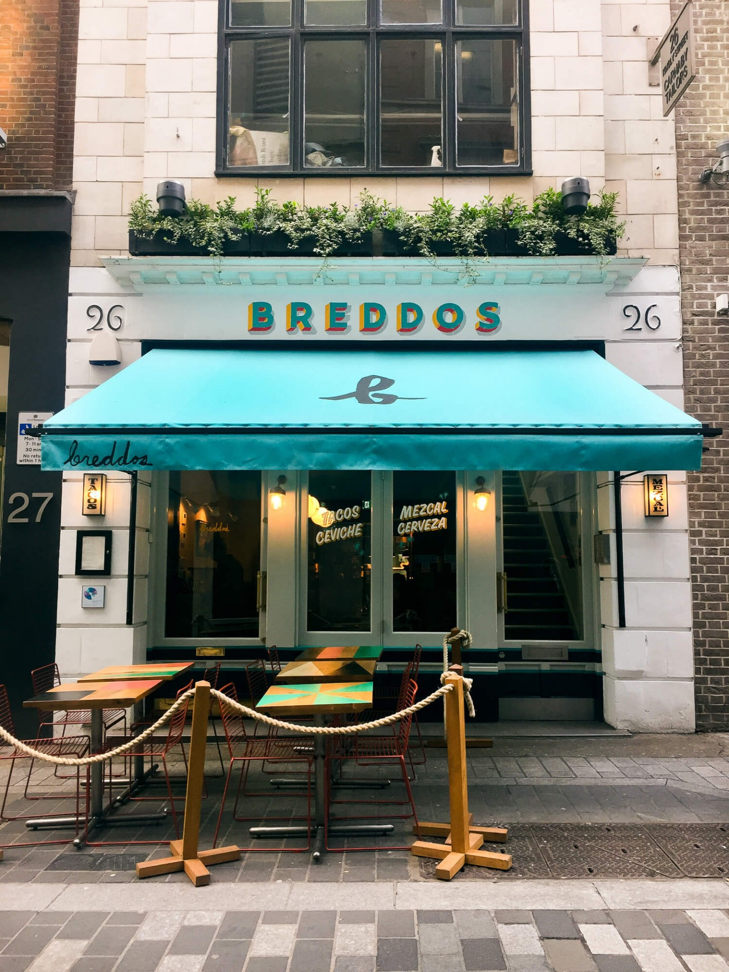 Breddos Tacos Soho is on the lively Kingly Street just by Carnaby Street.
