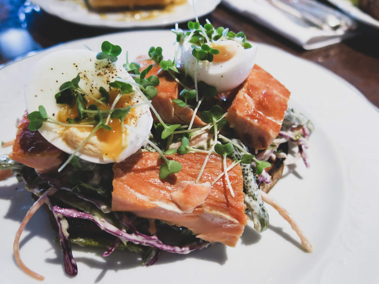 Hot smoked salmon with kale coleslaw. Brunch in London at Bellanger, Islington Green.