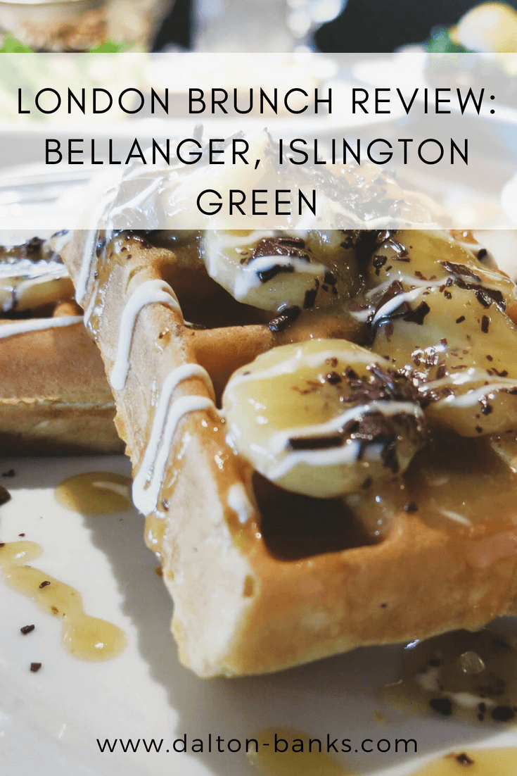London brunch review. Brunch at Bellanger, Islington Green. Banana and chocolate waffles!