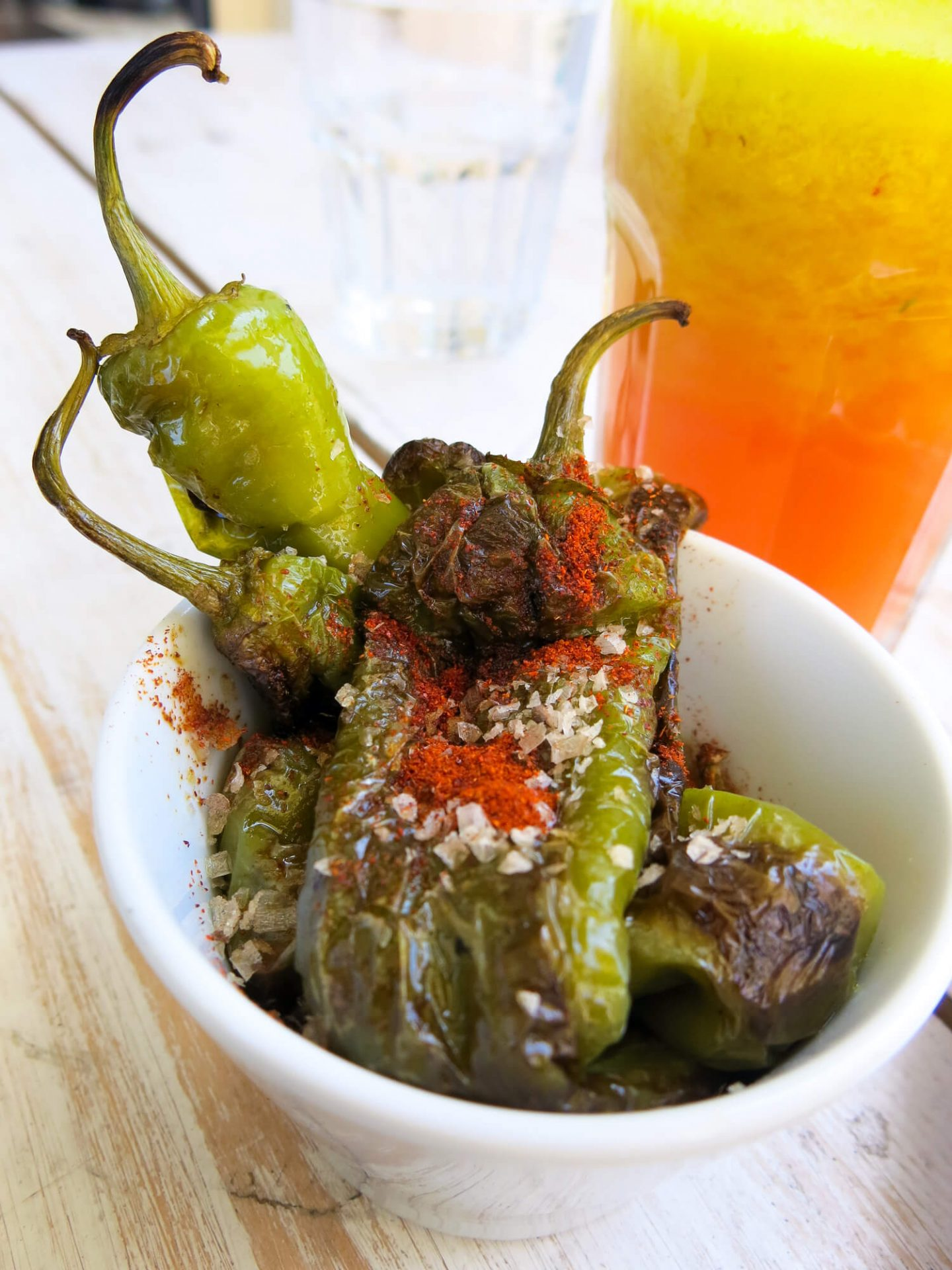 The padron peppers at Tupi. A great place for brunch in Peckham!