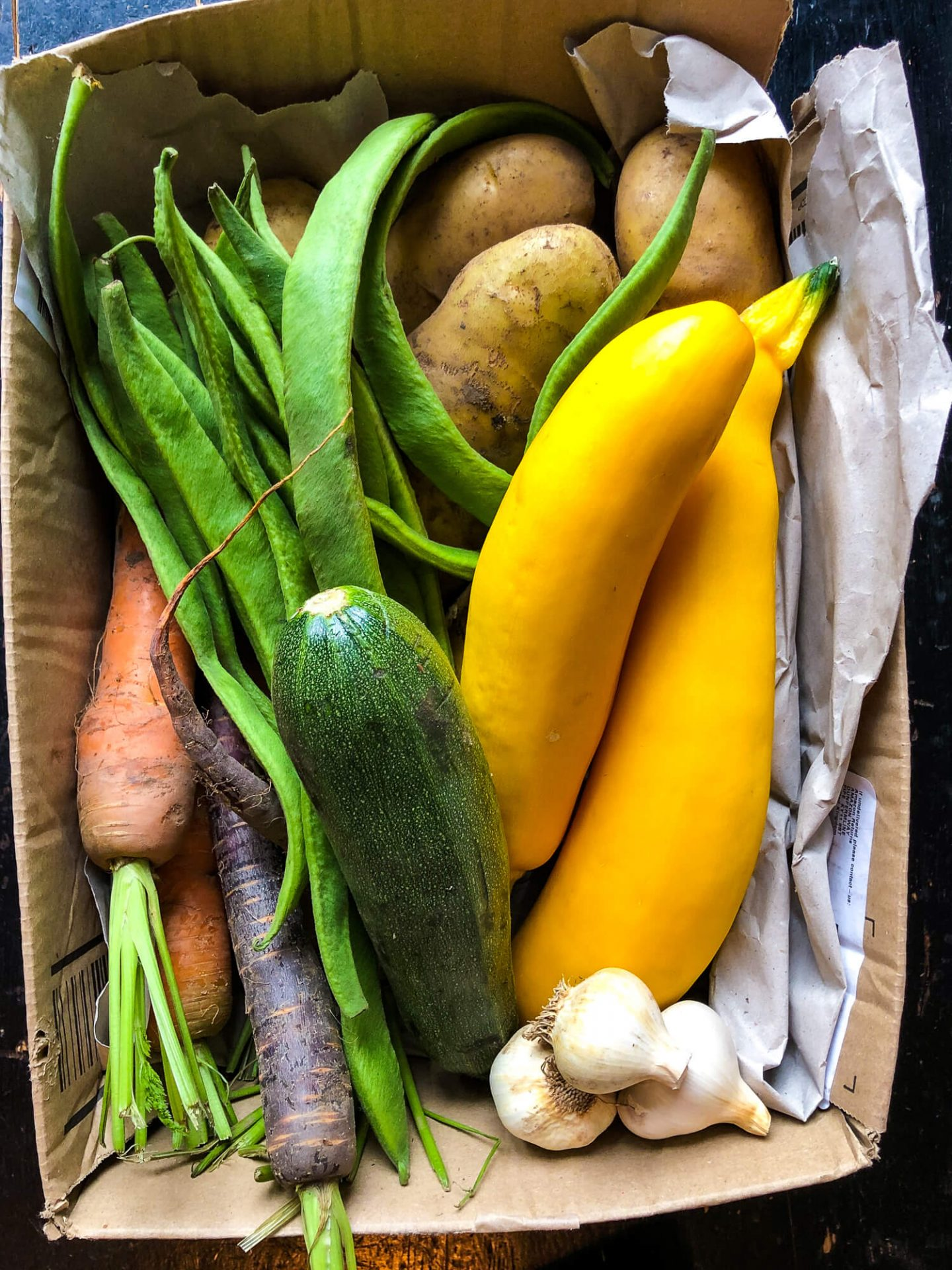 The beautiful box of vegetables from my friends allotment that gave me the inspiration for my raw courgette salad recipe.